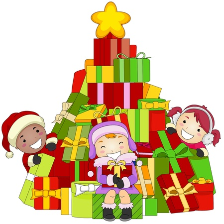 Illustration of Kids Gathered Around a Pile of Christmas Gifts illustration