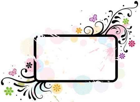 Illustration of a Frame with Floral Designs illustration