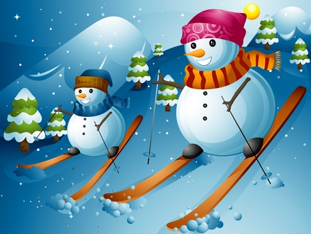 the slope: Illustration of Snowmen Skiing Down a Mountain Slope