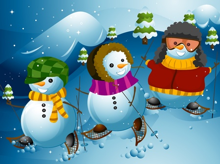 Illustration of a Group of Snowmen Doing Some Mountain Hiking illustration