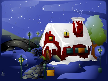 snow covered: Illustration of a House Covered with Snow Stock Photo