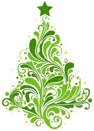 special events: Christmas Tree Design Featuring Abstract Swirls Shaped Like a Christmas Tree Stock Photo