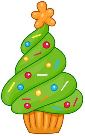 Christmas Tree Design Featuring a Cupcake Shaped Like a Christmas Tree photo