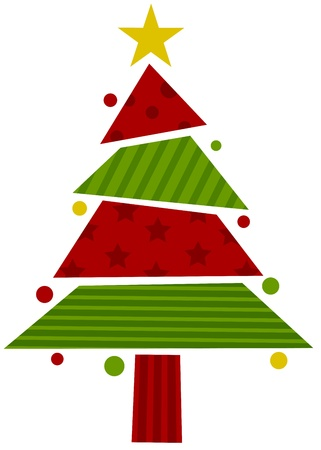 Christmas Tree Design Featuring Assorted Pieces of Wrapping Paper Forming the Shape of a Christmas Tree