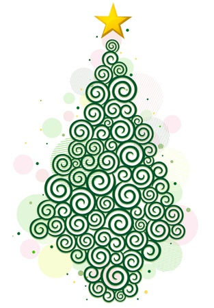 Christmas Tree Design Featuring Abstract Swirls Shaped Like a Christmas Tree Stock Photo - 8492541