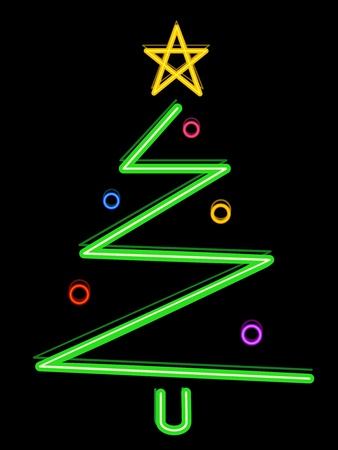 Christmas Tree Design Featuring Neon Lights Shaped Like a Christmas Tree photo