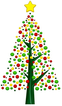 special events: Christmas Tree Design Featuring an Assortment of Christmas Balls  Stock Photo