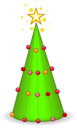 adorned: Christmas Tree Design Featuring a Giant Cone Adorned with Christmas Balls Stock Photo