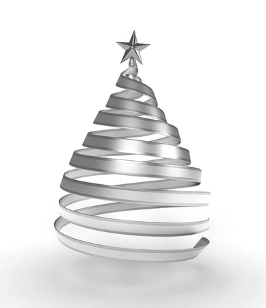 3D Illustration of a Strip of Ribbon Forming the Shape of a Christmas Tree Stock Illustration - 8492513