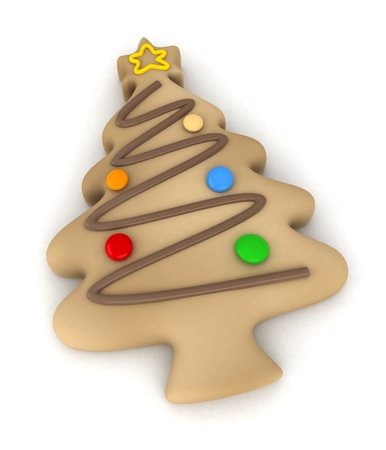3D Illustration of a Biscuit Covered with Candies and Chocolate and Shaped Like a Christmas Tree illustration