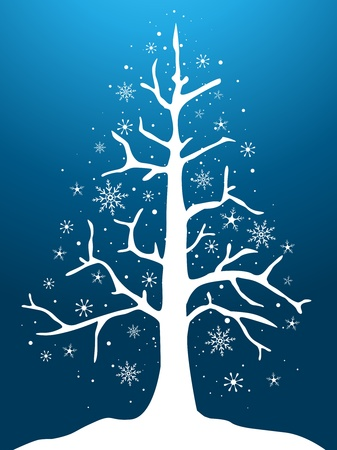 Christmas Tree Design Featuring a Nude Christmas Tree Covered with Snow Stock Photo - 8492578