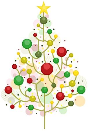 Dise�o de �rboles de Navidad con ramas sin hojas, adornadas con bolas de Navidad Foto de archivo - 8492585