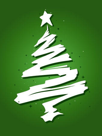Christmas Tree Design Featuring a Trail of Paint Shaped Like a Christmas Tree photo