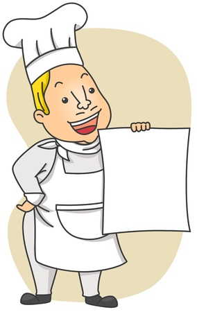 Illustration of a Chef Holding a Blank Menu illustration