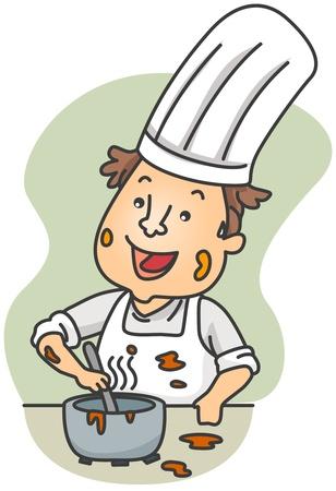 Illustration of a Dirty Chef Preparing Food Stock Illustration - 8492573