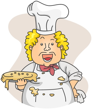 unsanitary: Illustration of a Dirty Chef Carrying a Sloppy Pie