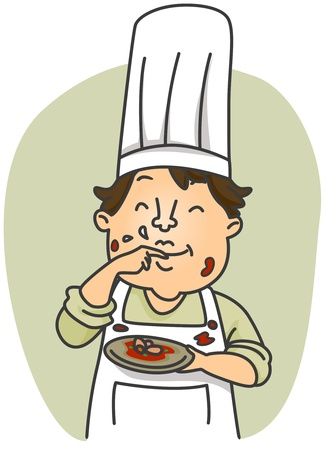 unsanitary: Illustration of a Dirty Chef Tasting the Food He Prepared