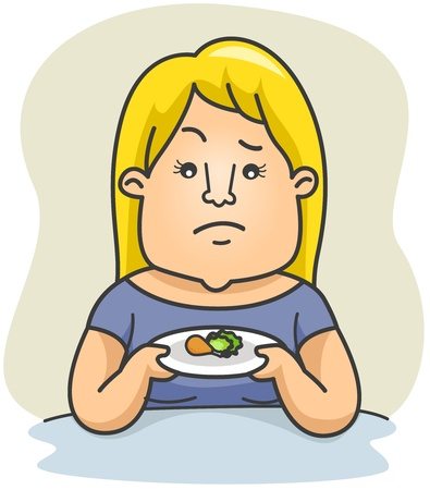fleshy: Illustration of a Plump Woman Holding a Plate with Small Portions of Food