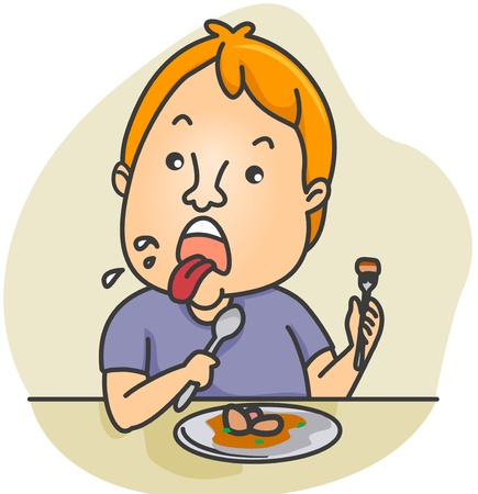 disgusted: Illustration of a Man Disgusted by the Food He Ate