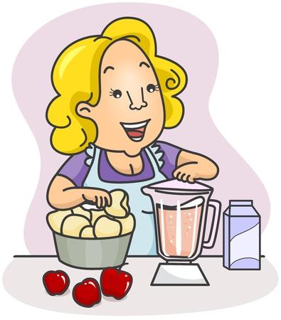 woman drinking milk: Illustration of a Woman Making a Fruit Shake Stock Photo