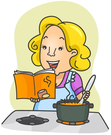 Illustration of a Woman Cooking Food Based on Instructions From a Cookbook illustration