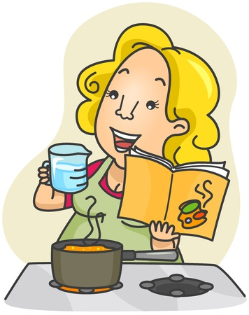 Illustration of a Woman Measuring the Ingredients She Will Use for the Food She is Cooking Stock Illustration - 8492597