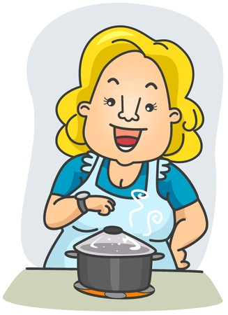 Illustration of a Woman Waiting in Front of the Food She is Cooking Stock Illustration - 8492591