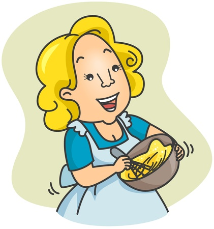 Illustration of a Woman Beating Eggs illustration