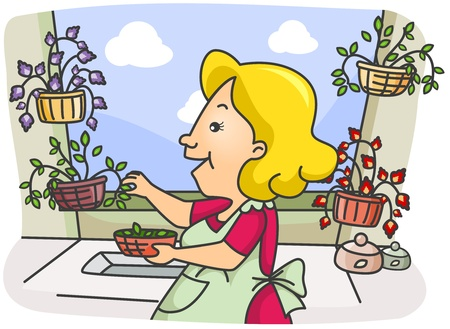 Illustration of a Woman Picking Herbs from Her Garden Stock Illustration - 8492604