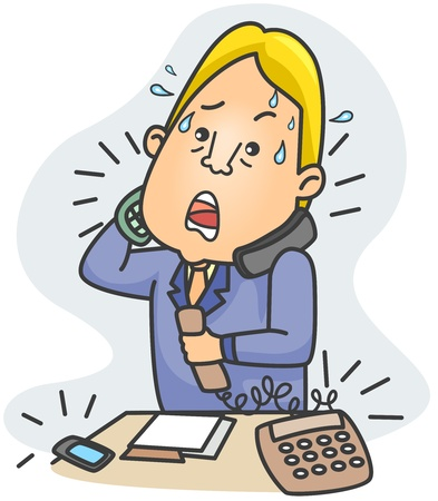 Illustration of a Businessman Answering Simultaneous Calls Stock Illustration - 8492595