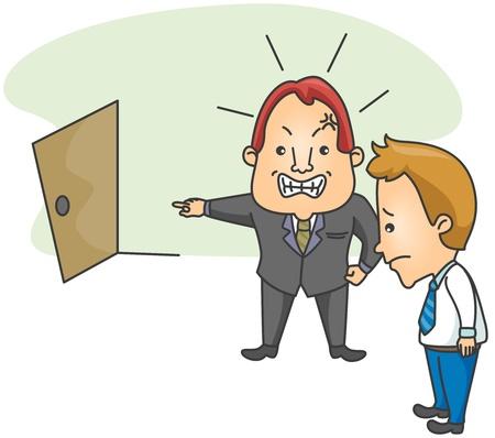terminated: Illustration of a Businessman Firing an Employee