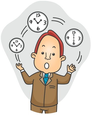 employers: Illustration of a Businessman Juggling Time Stock Photo