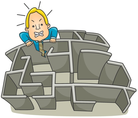 Illustration of a Businessman Breaking a wall of a Maze illustration