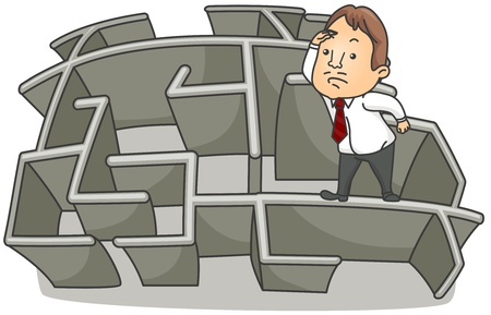 Illustration of a Businessman Looking Over on top of a Wall of a Maze Stock Illustration - 8492613