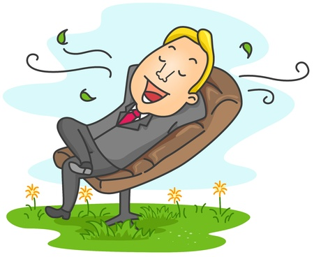 relaxed: Illustration of a Businessman Relaxed at his Office