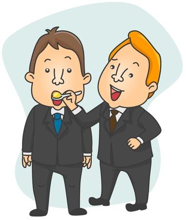 sarcastic: Illustration of a Businessman Spoon Feeding an Employee Stock Photo
