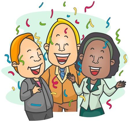 entrepreneurs: Illustration of a Small Group of Entrepreneurs Celebrating Stock Photo