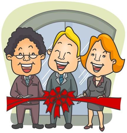 feestelijke opening: Illustratie van zaken lieden in een lint-snijden ceremonie Stockfoto