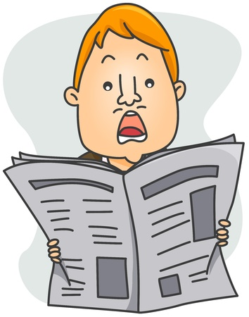 Illustration Depicting a Man Shocked by What He Read on the Newspaper illustration