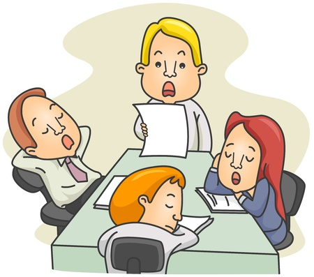dozing: Illustration of a Employees Dozing Off While in the Middle of a Board Meeting