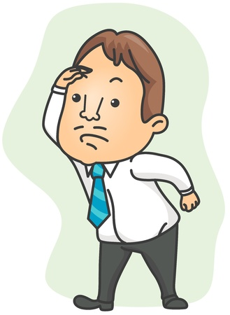 Illustration of a Businessman Searching for Something Stock Illustration - 8492636