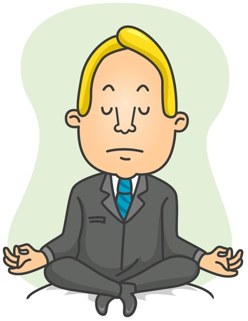Illustration of a Businessman Doing Yoga Exercises Stock Illustration - 8492640