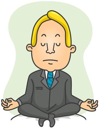 Illustration of a Businessman Doing Yoga Exercises illustration