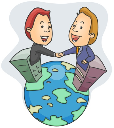 multinational: Illustration of Business Partners Shaking Hands Stock Photo