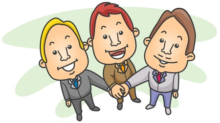 joining forces: Illustration of a Group of Businessmen Joining Forces For a Common Goal Stock Photo