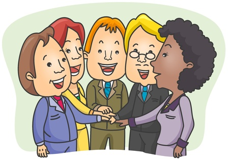 joining forces: Illustration of a Group of Businessmen Joining Forces for a Common Goal