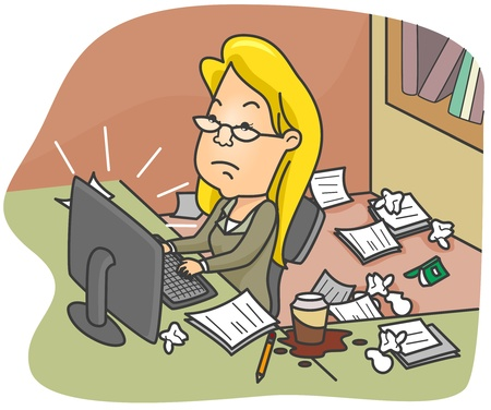 Illustration of a Woman Working in a Dirty Office Stock Illustration - 8492667