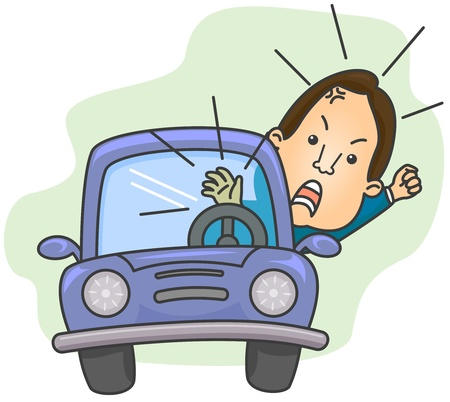 enraged: Illustration of an Angry Driver Shouting While Blowing His Cars Horn Stock Photo