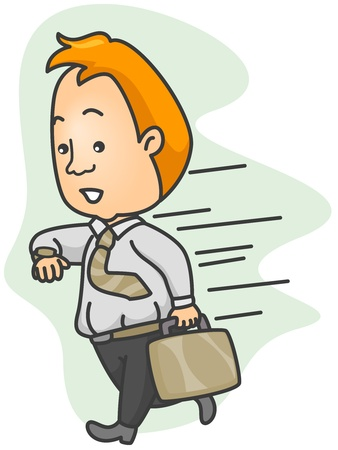 running late: Illustration of a Man Running Late for Work