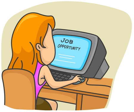 Illustration of a Woman Searching for Jobs Online Stock Illustration - 8492659